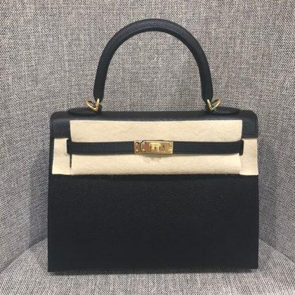 ケリー25 外縫い 黒 エプソン ゴールド金具 Y刻印