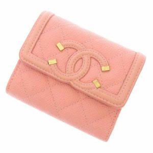 シャネル 三つ折り財布 CCフイリグリー ココマーク AP0375