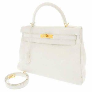 エルメス ハンドバッグ ケリー32 内縫い ホワイト/ゴールド金具 トリヨン