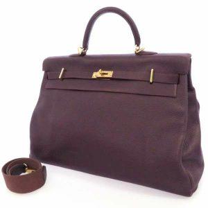 エルメス ハンドバッグ ケリー50 内縫い レザン/ゴールド金具 トゴ