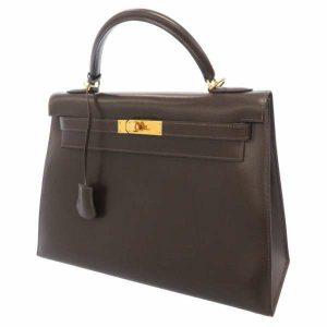 エルメス ハンドバッグ ケリー32 外縫い ショコラ ボックスカーフ