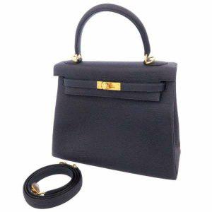 エルメス ハンドバッグ ケリー25 内縫い ブルーニュイ トゴ