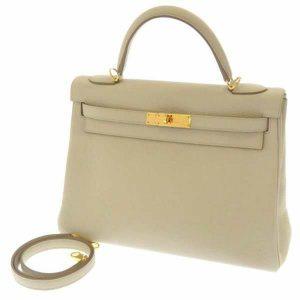 エルメス ハンドバッグ ケリー32 内縫い ベトン/ゴールド金具